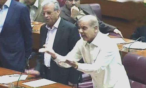"Leader of Opposition in the NA Shehbaz Sharif called Prime Minister Imran Khan a ""selected prime minister"". — DawnNewsTV"