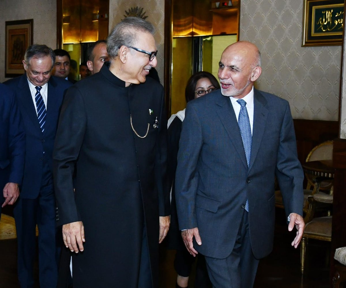 President Ashraf Ghani in conversation with President Arif Alvi at the President House. — GOP Twitter
