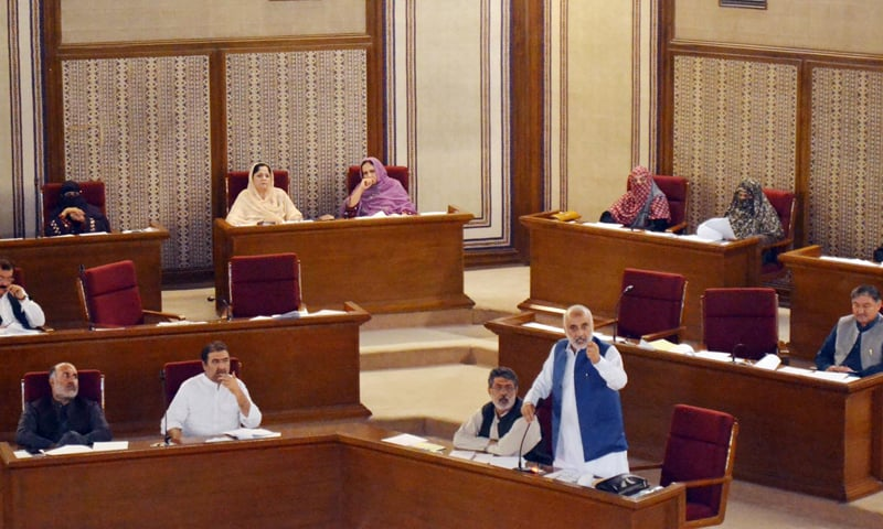 QUETTA: MPA Sardar Abdul Rehman Khetran speaks during the Balochistan Assembly's session on Thursday.—Online