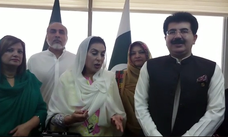Federal Minister for Inter-Provincial Coordination Dr Fehmida Mirza (C) and Senate Chairman Sadiq Sanjrani speak to reporters on Friday. — Screengrab
