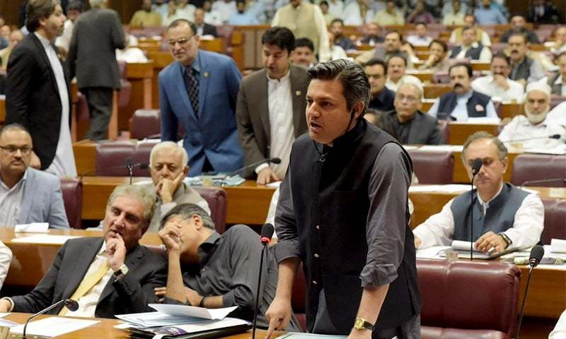 State Minister for Revenue Hammad Azhar talking in the National Assembly. — Photo courtesy of Radio Pakistan