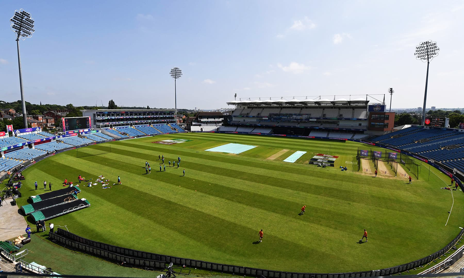 A view of the Headingly Stadium in Leeds on June 28 where Pakistan and Afghanistan team members held training sessions to prepare for their upcoming match against one another. — AFP