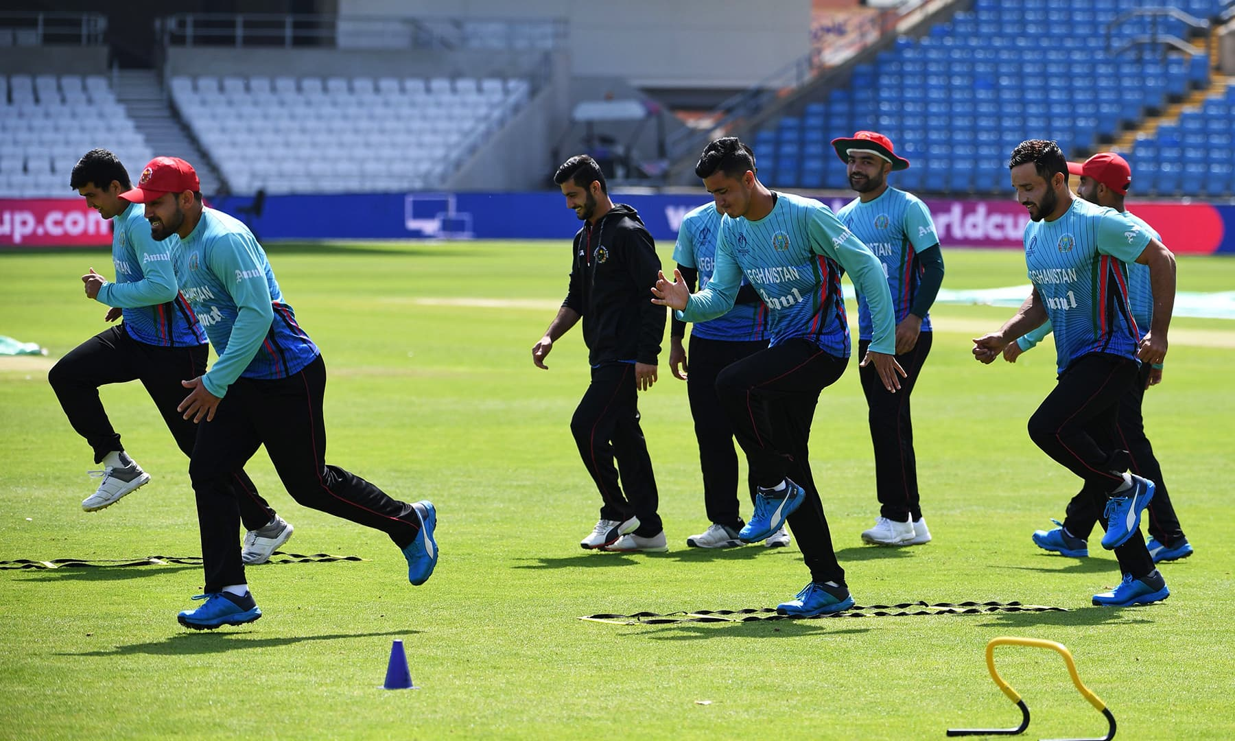 Afghanistan players take part in a training session at Headingly. — AFP