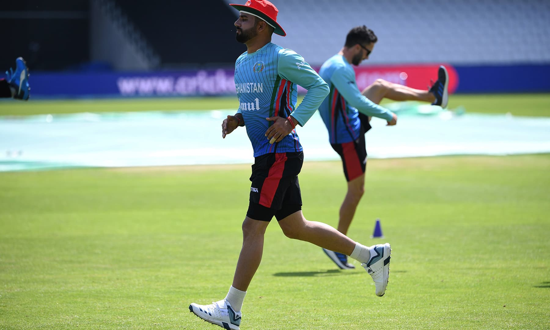 Afghanistan's Aftab Alam participating in the training session at Headingly. — AFP
