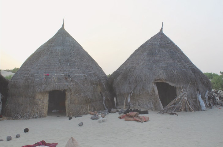 Conical-shaped thatched huts in the desert