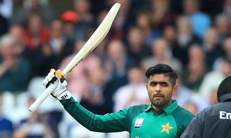 Pakistan's Babar Azam celebrates his century during the fourth One Day International (ODI) cricket match between England and Pakistan at Trent Bridge in Nottingham on May 17, 2019. (Photo by Lindsey PARNABY / AFP) / RESTRICTED TO EDITORIAL USE. NO ASSOCIATION WITH DIRECT COMPETITOR OF SPONSOR, PARTNER, OR SUPPLIER OF THE ECB — AFP or licensors