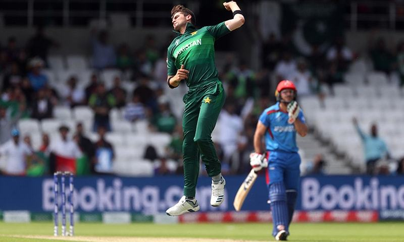 Pakistan's Shaheen Afridi celebrates taking the wicket of Afghanistan's Gulbadin Naib. — Reuters