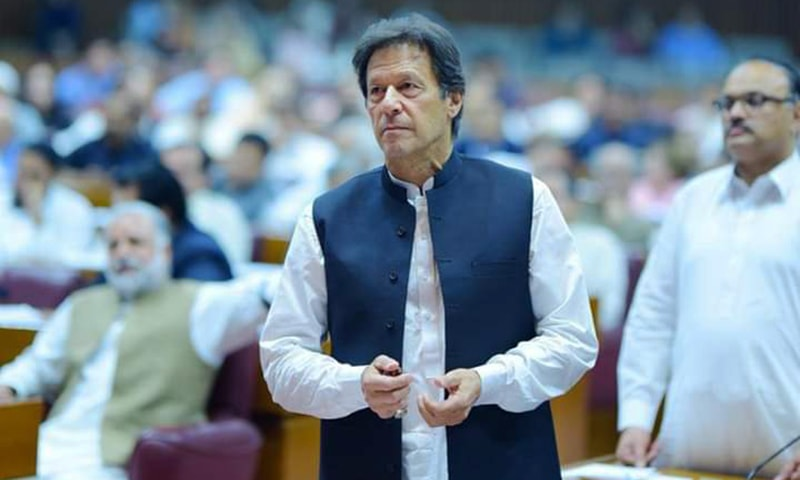 Prime Minister Imran Khan addresses the National Assembly on Saturday. — PTI