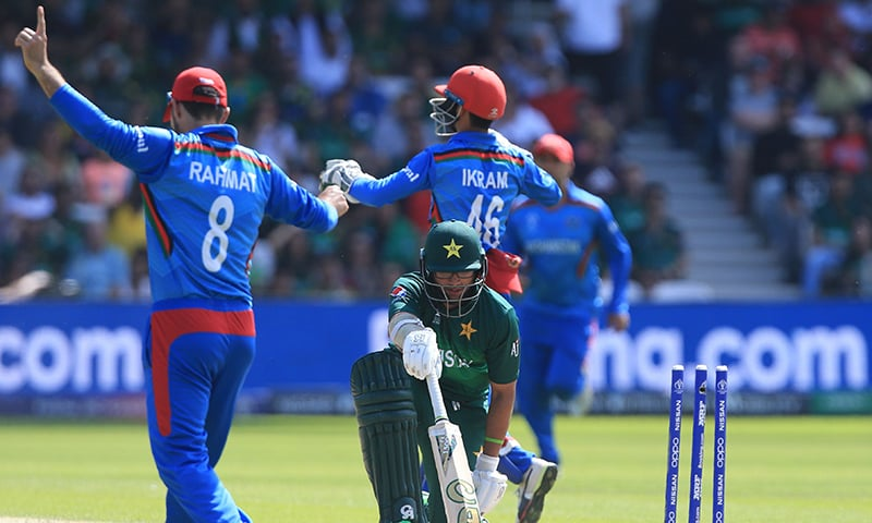 Imam-ul-Haq reacts after he was stumped by Afghanistan's wicketkeeper Ikram Ali Khil in the 2019 Cricket World Cup group stage match between Pakistan and Afghanistan at Headingley in Leeds on June 29. — AFP