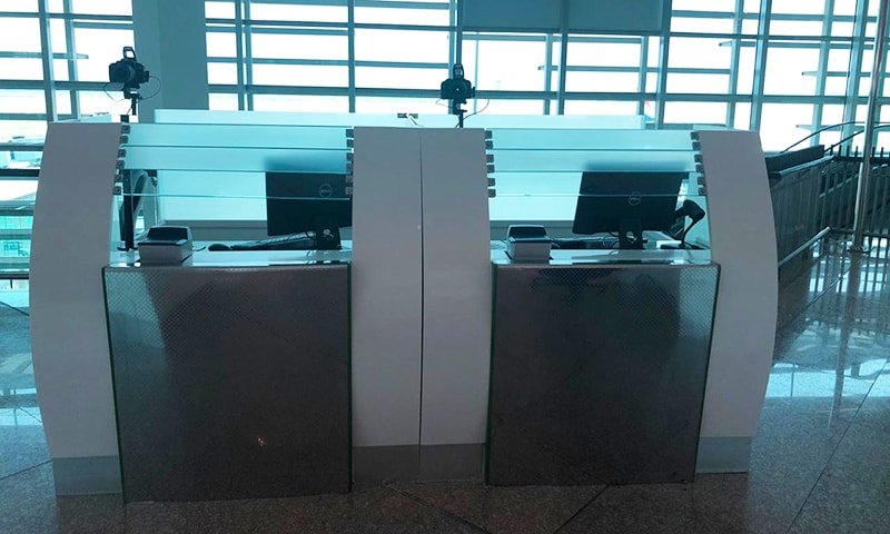 Equipment required for immigration clearance has been installed in the Islamabad Airport's departure lounge. — Photo by author