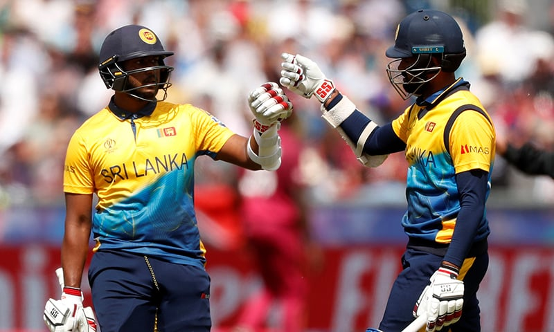Sri Lanka's Avishka Fernando and Lahiru Thirimanne during World Cup fixture against West Indies at Chester-le-Street on July 1. — Reuters