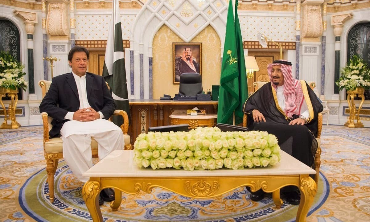 Prime Minister Imran Khan in a meeting with Saudi King Salman during his visit to Riyadh. — Photo: PTI Twitter/File