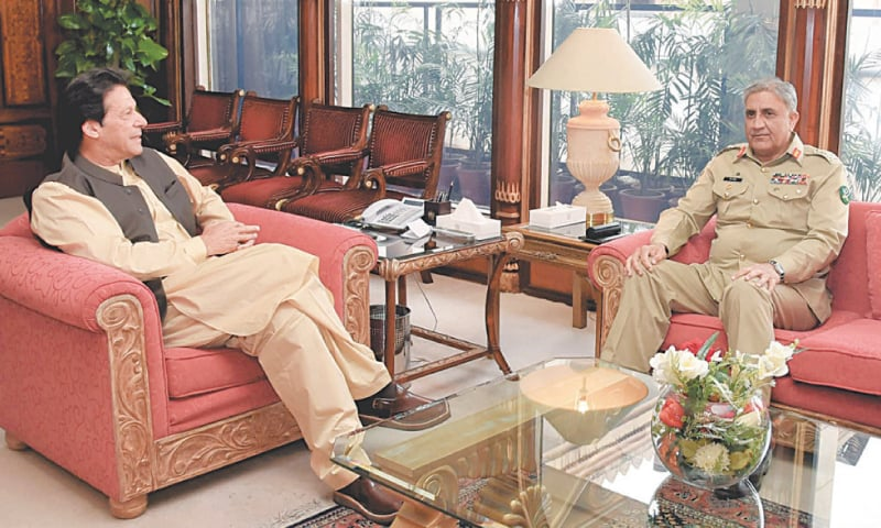 CHIEF of the Army Staff Gen Qamar Javed Bajwa calls on Prime Minister Imran Khan at the PM Office. — White Star