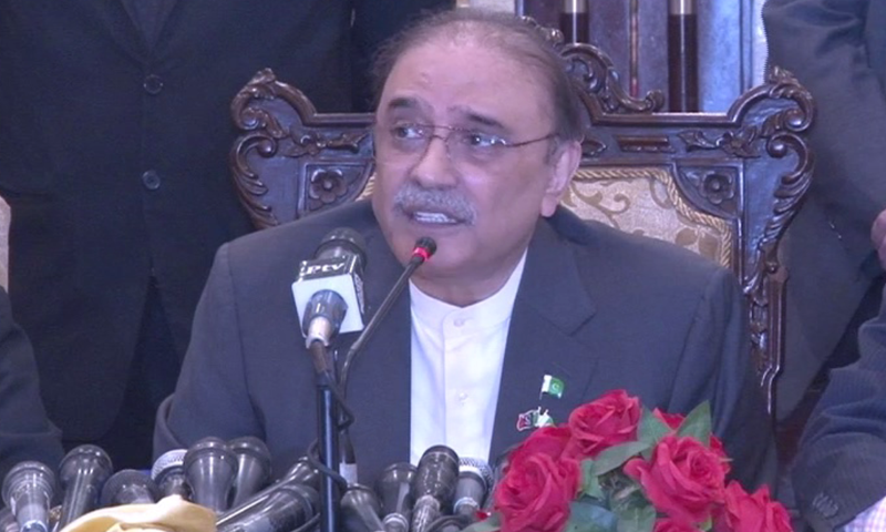 An interview of former president Asif Ali Zardari was stopped from being aired shortly after it started on a private news channel on Monday. — DawnNewsTV/File