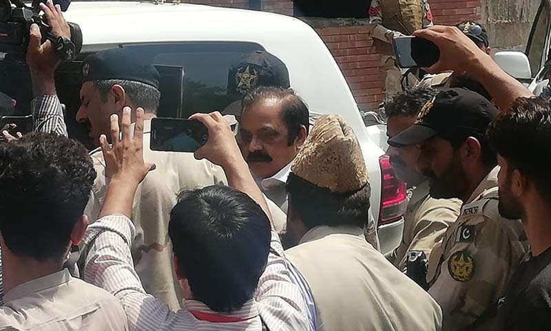 PML-N Punjab president MNA Rana Sanaullah Khan appears in court on Tuesday, a day after his arrest. — DawnNewsTV