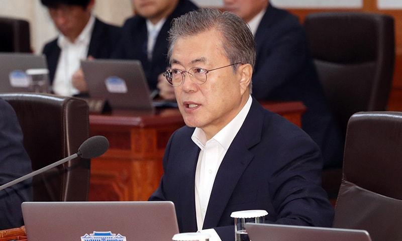 South Korean President Moon Jae-in speaks during a cabinet meeting at the presidential Blue House in Seoul, South Korea on July 2. — AP