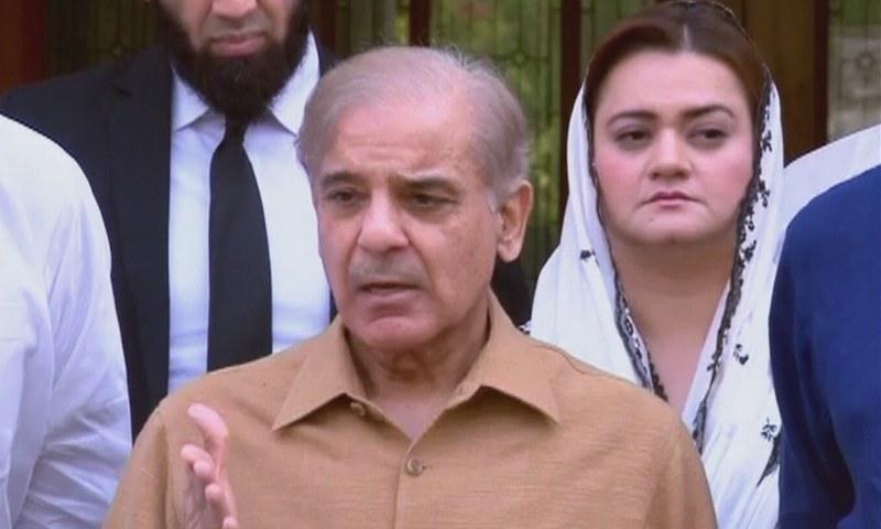 PML-N President Shehbaz Sharif talks to media representatives in Lahore on Tuesday. — DawnNewsTV