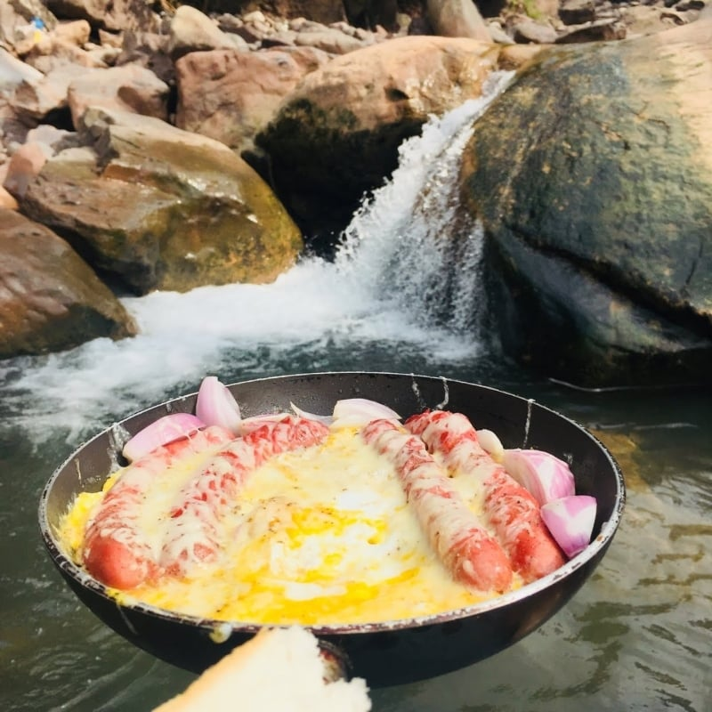 Scrambled eggs with a side of waterfall