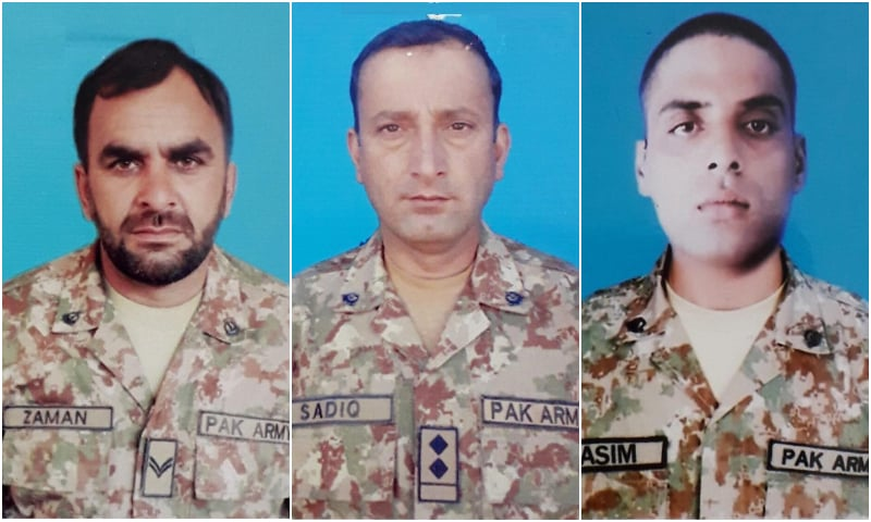 (From L-R) Naik Sher Zaman, Subedar Muhammad Sadiq and Sepoy Ghulam Qasim. — Photos courtesy: ISPR