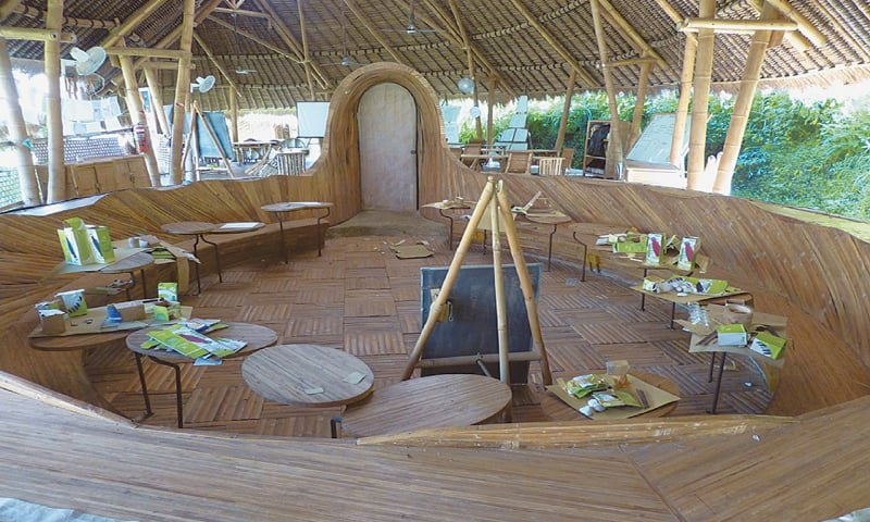 A open-air classroom in the Green School