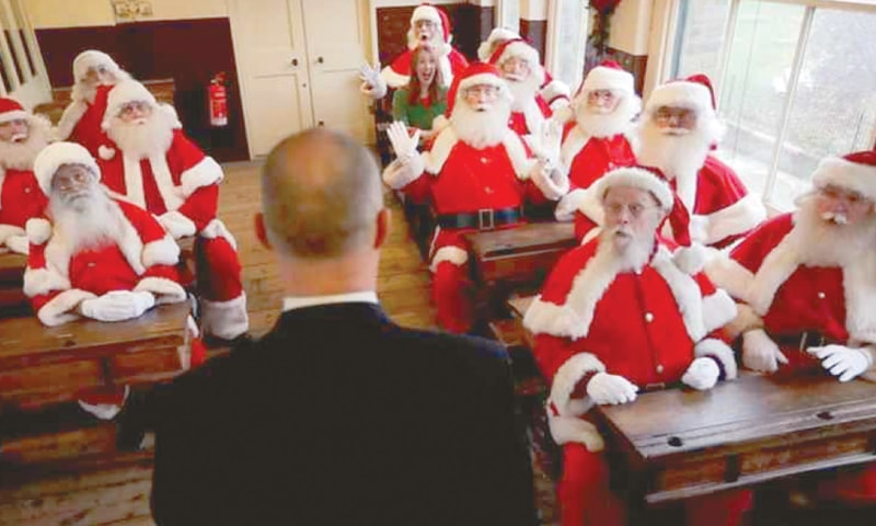 Would-be santas in classroom