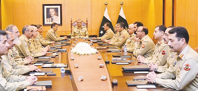 RAWALPINDI: Chief of the Army Staff Gen Qamar Javed Bajwa presiding over the corps commanders' conference held at the GHQ on Wednesday. — INP