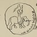 A sketch of an ancient coin found near Gandgarh depicts a giant riding an elephant.—Journal of the Asiatic Society of Bengal (Volume XXII)