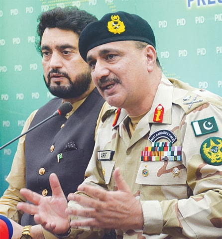 State Minister for Narcotics Control Shehryar Khan Afridi and ANF DG Major General Arif Malik pictured during the press conference.—Tanveer Shahzad / White Star