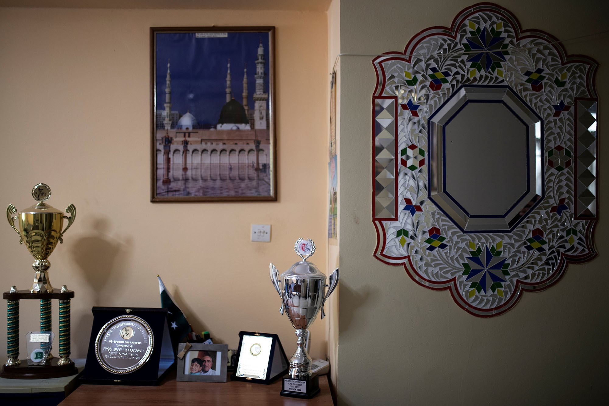 Trophies and awards of Pakistani former Greece national cricket team player Mehdi Khan Choudhry, are displayed in his apartment in Athens Greece on June 30. — Reuters