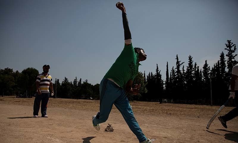 In pictures: Pakistan's street cricketers bring game to life in Greece