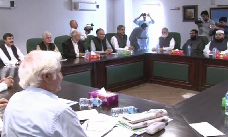 Opposition leaders meet to decide a strategy to remove Senate Chairman Sadiq Sanjrani. Photo: DawnNews
