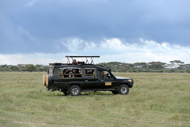 Jeeps on the Ndutu game drive.