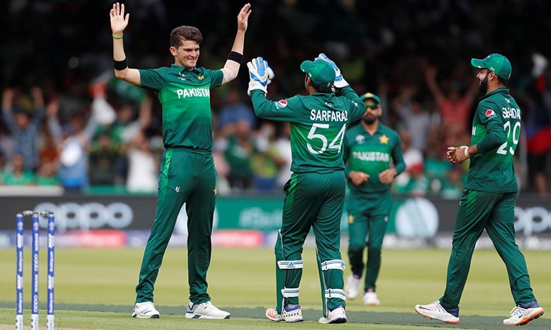Saheen celebrates his wicket in the last game.  — AFP/File