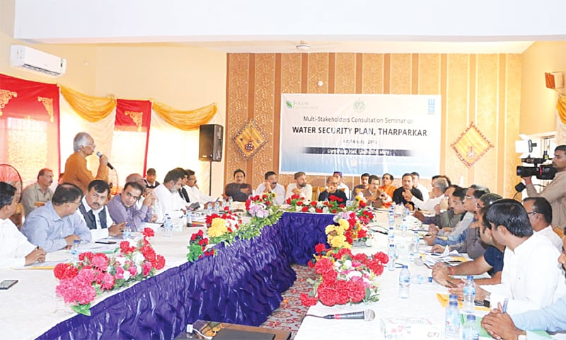 THE conference on Thar's water issue under way in Mithi on Saturday.—Dawn
