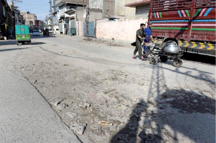 The Kashmiri Bazaar Road which also needs urgent repairs. — White Star