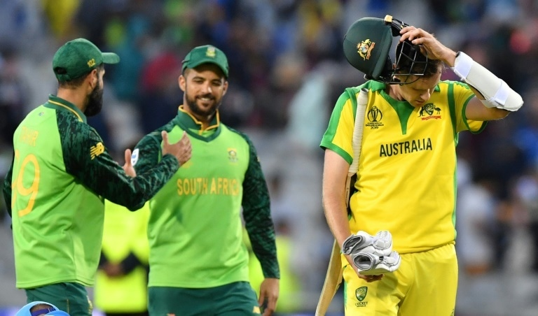 Australia's Jason Behrendorff walks off after a World Cup loss to South Africa. — AFP