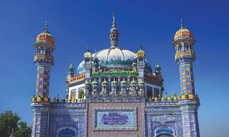 Elaborate dome and minarets of Sachal Sarmast's dargah