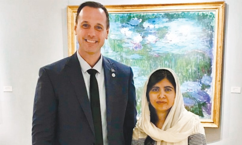 Quebec Education Minister Jean-Francois Roberge with Malala Yousafzai. — Online