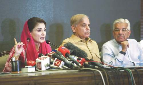 Maryam Nawaz addressing a press conference with PML-N's top leadership on Saturday. — Aun Jafri/White Star