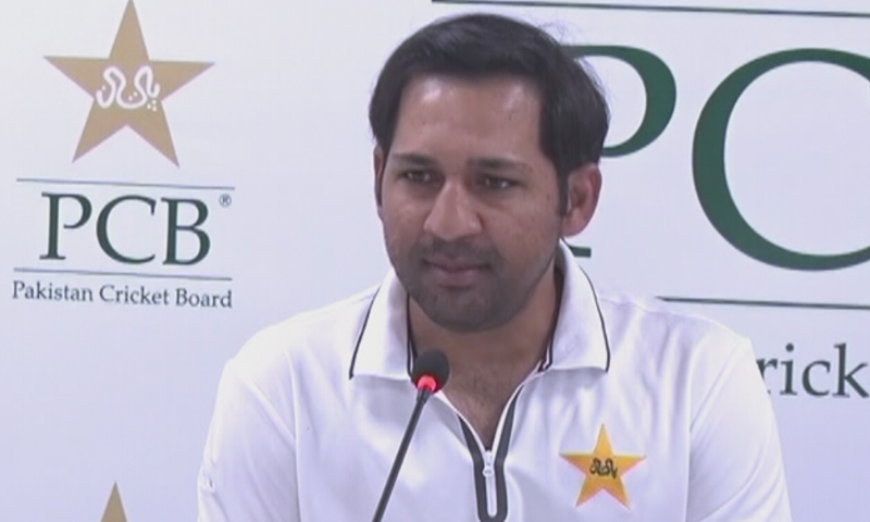 Sarfaraz Ahmed addresses press conference in Karachi upon return on Sunday. — DawnNewsTV
