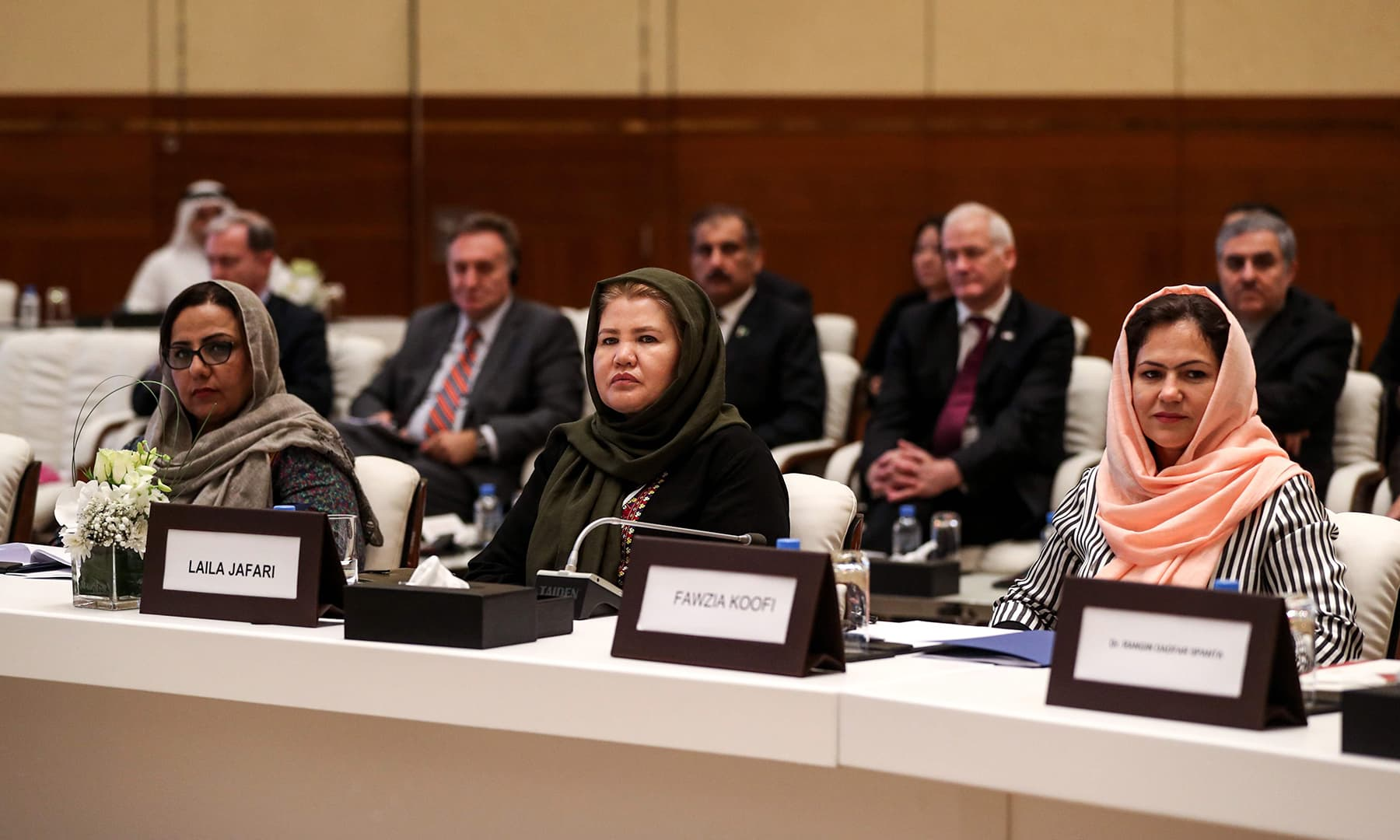 Afghan civil society and women's rights activist Laila Jafari (C) and Fawzia Koofi (R), Member of the Wolesi Jirga (lower house of the Afghan assembly) attend the Intra Afghan Dialogue talks. — AFP