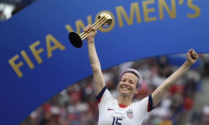 United States' forward Megan Rapinoe poses with the Golden Ball after the France 2019 Women's World Cup football final match between USA and the Netherlands, on July 7 at the Lyon Stadium in Lyon, central-eastern France. — AFP