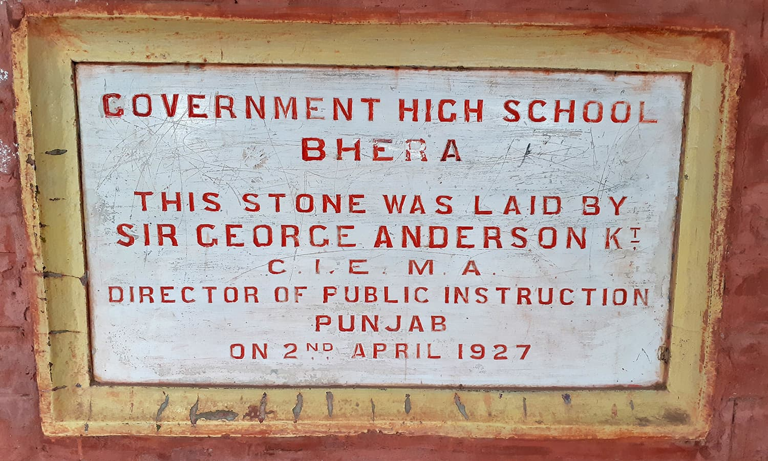 The school's inaugural plaque.