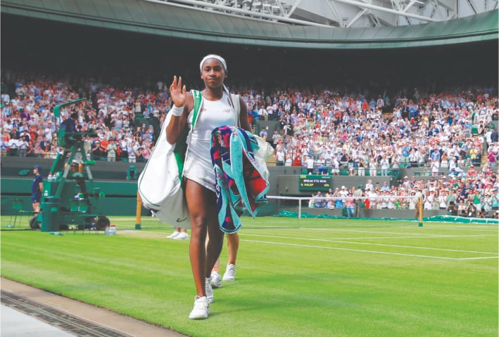 COCO Gauff of the United States leaves after losing her fourth-round match to Romania's Simona Halep  on Monday.—Reuters
