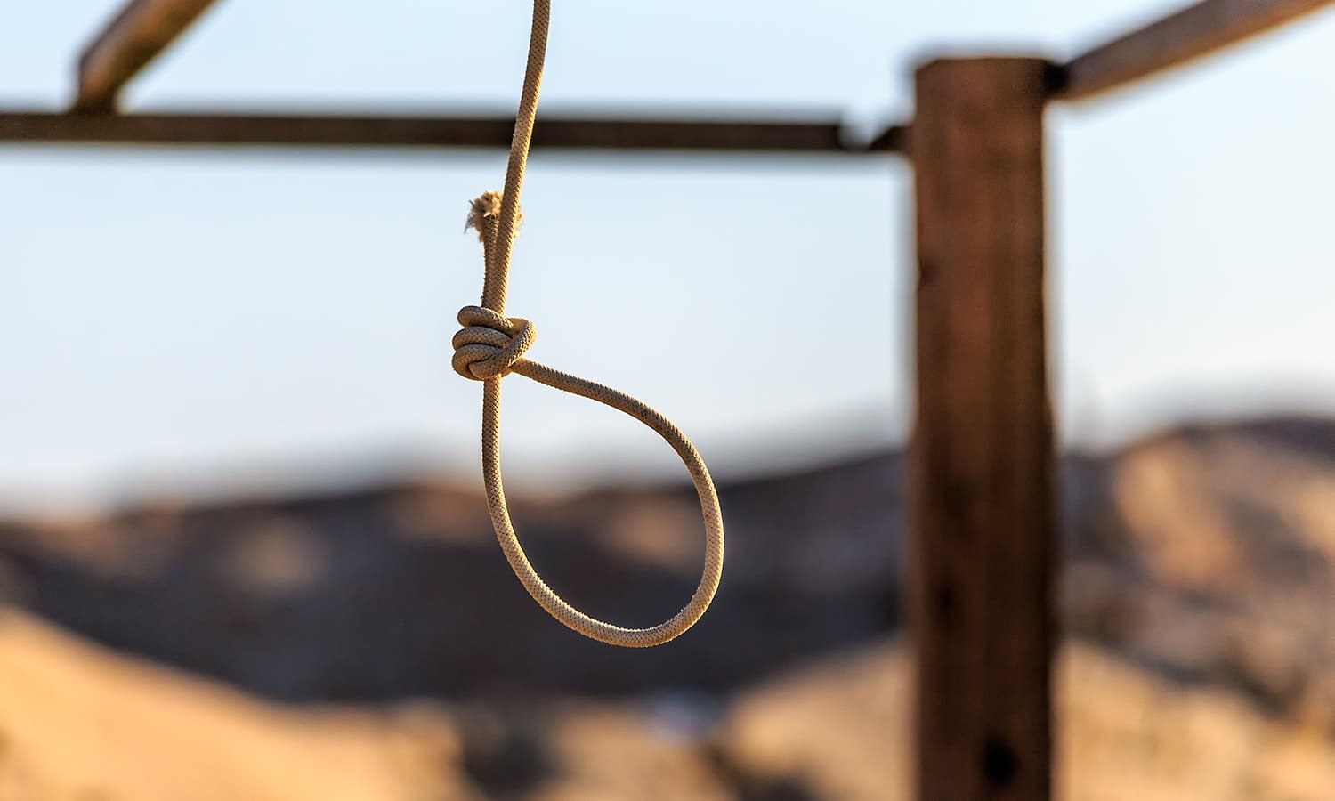 A rope hanging. Death penalty via the form of hanging is the most common type of way of execution for death penalty convicts worlwide.