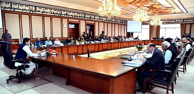 ISLAMABAD: Prime Minister Imran Khan chairs a meeting of the federal cabinet on Tuesday. — APP