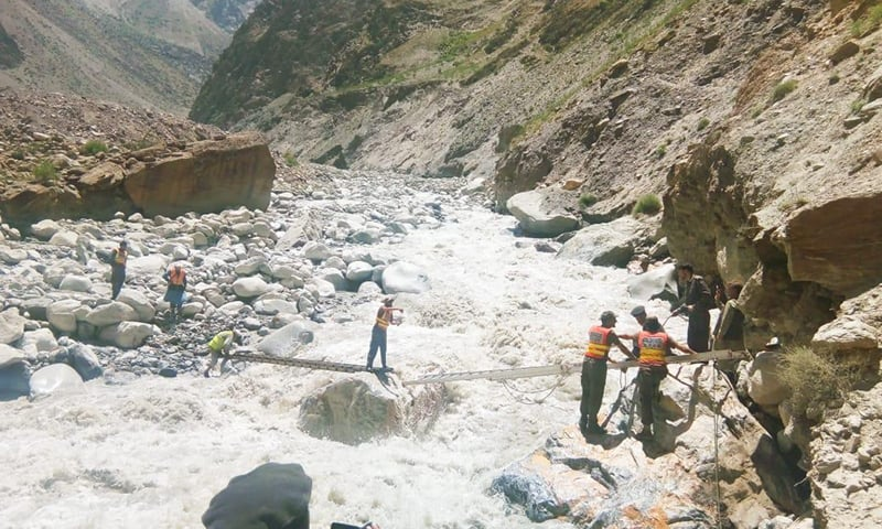 Golain, a narrow valley nestled among mountains around 25 kilometers north of Chitral town, was hit by a glacial lake outburst flood on Sunday night. — Photo provided by Sirajuddin
