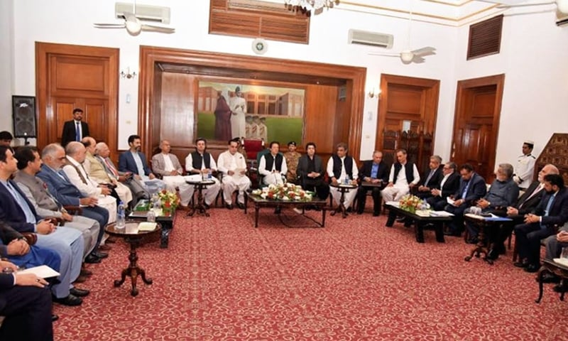 PM Imran Khan speaks to representatives of the business community in Karachi on Wednesday. — Photo courtesy Radio Pakistan