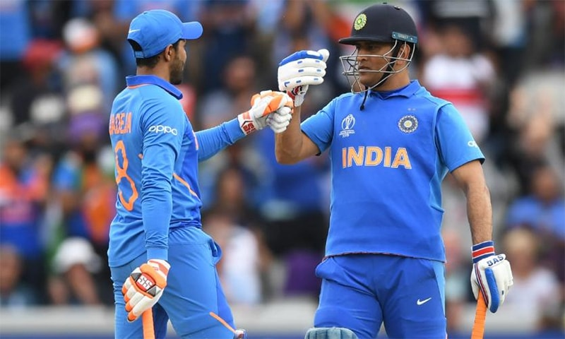 MS Dhoni and Ravindra Jadeja have built a much-needed partnership, increasing India's chances to progress to the World Cup final. — Photo courtesy ICC Twitter