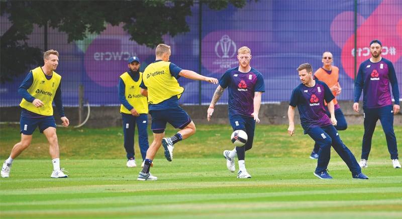 BIRMINGHAM: England cricketers play football during a training session at Edgbaston on Wednesday.—AFP